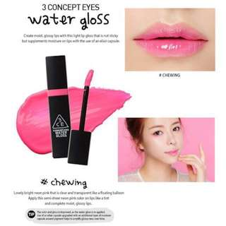AUTHENTIC 3CE WATER GLOSS(2 COLOURS AVAILABLE) - CLEARANCE U.P $29.90!