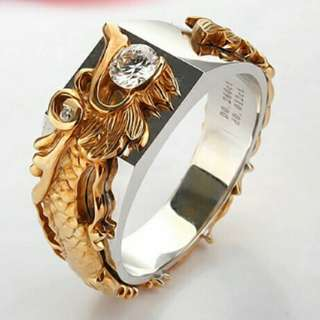 Dragon 0.25Ct Synthetic Diamant Rings for Men White Gold/Yellow Gold plated Jewelry Dragon Ring