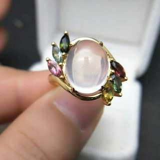 Rose Quartz with Tourmaline Side Stones 925 Sterling Silver Ring For Woman