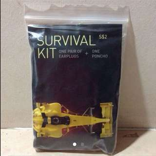 1 pair of earplugs + one poncho ( Survival Kit )