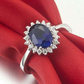 Sapphires 1.5 Karat Synthetic Gemstones Ring For Women Wedding gold plated Jewelry Engagement White Gold Color