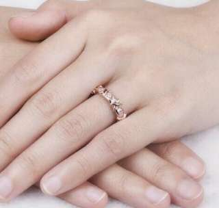 Glorious Rose Gold X Love Ring Gold plated Ring Synthetic Diamonds Wedding Band