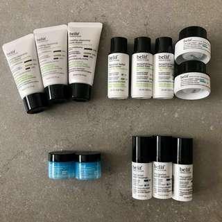 Belif cleansing foam / toner / Aqua bomb / water essence / eye bomb Samples