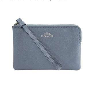 Coach🇨🇦F15154 Metallic Glitter Leather Corner Zip Wristlet