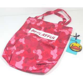 B.Duck (HK) 帆布袋 迷彩單肩包 紅色Polyester Tote Bag Red Camouflage