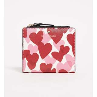 SALE Kate Spade Yours Truly Heart Adalyn Small Wallet Red Pink White