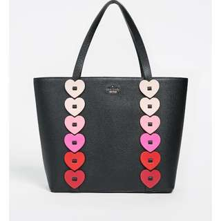 SALE Kate Spade Yours Truly Ombre Heart Tote Bag Black Red Pink
