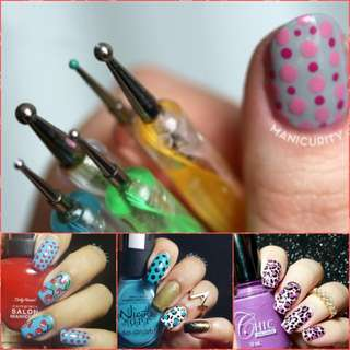 SHARE THIS ITEM :   5 Pcs 2Ways Dotting Pen Marbleizing Tool Nail Art Dot Painting Handle Nail Art Tool
