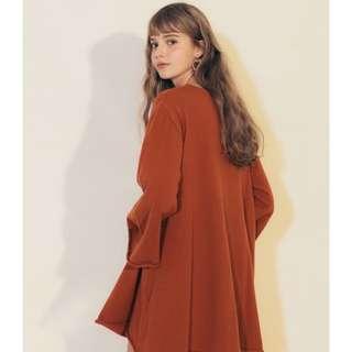 🚚 Pazzo Girl 傘擺寬袖長版上衣 橘