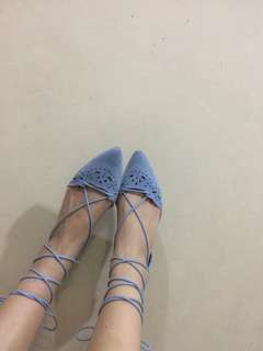 Blue Laced Up Flats