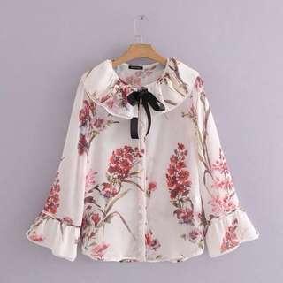 Korean lace bowknot speaker sleeve floral shirt shirt female