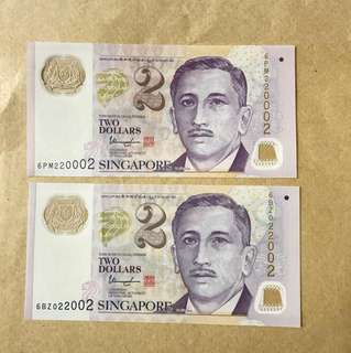 2 pcs of $2 notes with three 2 and three 0