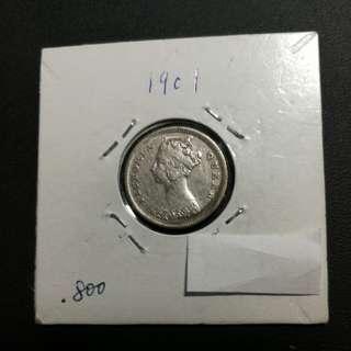 香港維多利亞女皇 一毫 1901 80%銀