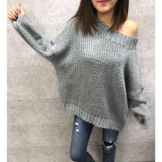 🚚 轉售+MMC+ 正韓一字領針織毛衣