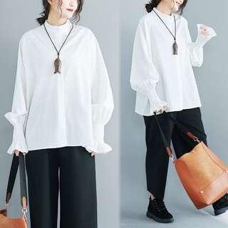 (XL~4XL) 2018 spring cotton shirt women loose wild lantern sleeve collar white shirt
