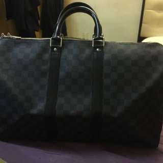 Louise Vuitton Black Damier Keepall 45CM
