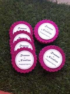 Glitter hot pink tag
