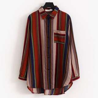 (XL~4XL) 2018 casual color striped long-sleeved shirt