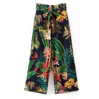 Women's 18 summer high waist belt tropical style wide-leg pants