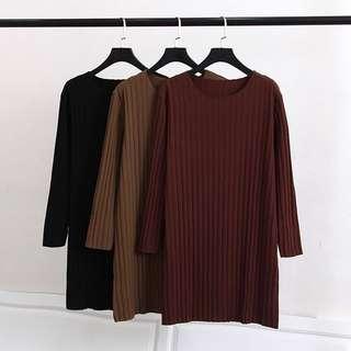 (XL~4XL) Korea plus Size Women's long pit simple T-shirt dress