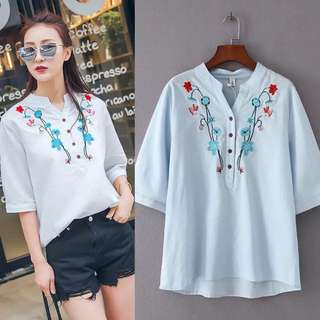 (XL~4XL) 2018 Summer embroidery V-neck pullover shirt sleeve sleeves Cotton tops