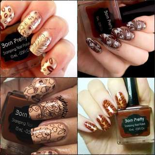 15ml Born Pretty Nail Art Stamping Polish coffee Nail Polish   # 19