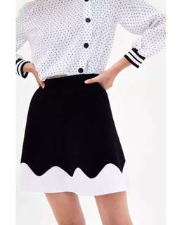 European and American style knit high waist hit color skirt