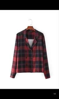 Europe and the United States new Slim suit collar double-breasted plaid jacket