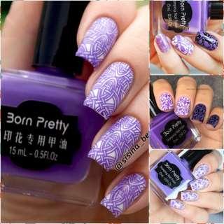 15ml Born Pretty Nail Art Stamping Polish purple Nail Polish   # 8