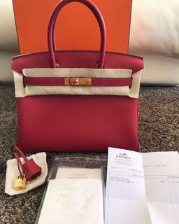 BNIB hermes b30 rouge viff togo ghw #A Complete set with rec feb 2018