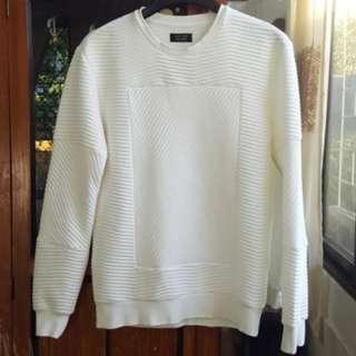 Zara Man Quilted Sweatshirt White
