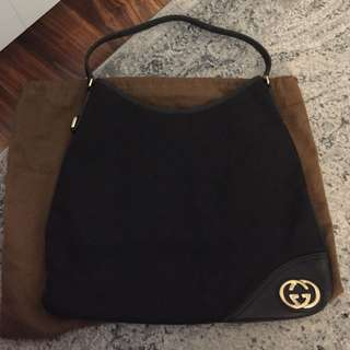 Gucci - GG Brit Black Medium Canvas Hobo bag