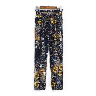 European and American style totem flowers printed high-waist lace casual pants