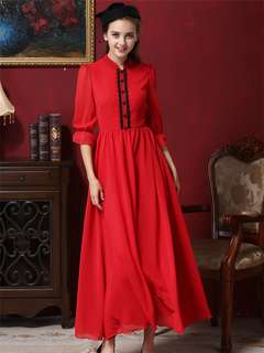 AO/MKC072533 - European Fashion Lace Buttons Chiffon Princess Maxi Dress