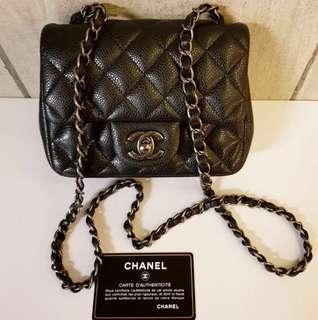 Chanel mini square black caviar RHW #21 complete set no rec
