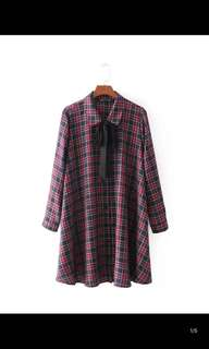 Europe and the United States new loose was thin long-sleeved mini lattice dress skirt