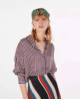 European and American style vertical stripe printing shirt