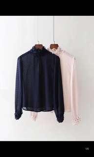 Europe and the United States new loose thin wild chiffon stitching short blouse shirt