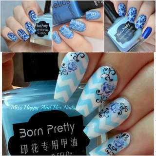 15ml Born Pretty Nail Art Stamping Polish light blue Nail Polish   # 9