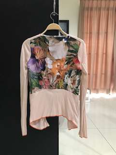Original Ted Baker Peach Floral Cardigan (Size 0)
