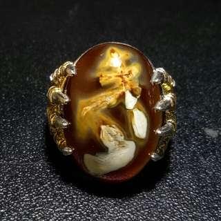 Cincin Batu Akik Agate Chalcedony Motif Unik