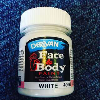 Derivan White Art Face and Body Water Based Paint Makeup Halloween [Made In Australia]