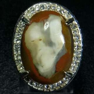 Cincin Batu Akik Agate Chalcedony Motif Sosok
