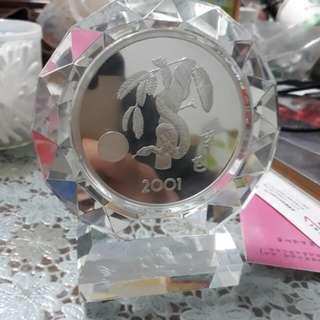 中央造幣廠 2001年5盎司水晶銀章
