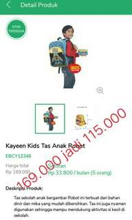 Kayeen kids tas anak robot
