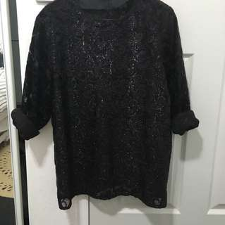 Vintage Shiny Shift Top Long Sleeved Mesh Velvet