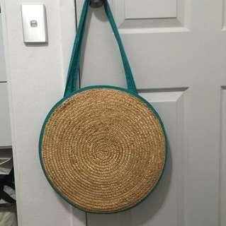 Circular Straw Bag Polkadots Green Round
