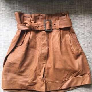 Zara High Waist Paper Bag Leather Short, Size 10