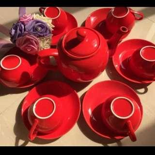 紅色茶具六個杯 六個碟 茶壺 喜慶結婚