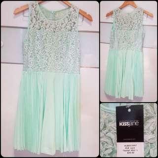 NWT Dress Mint Lace Pleated Size L